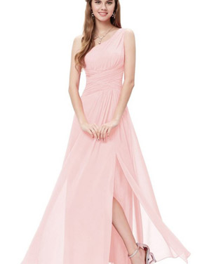 photo Elegant One Shoulder Slitted Ruched Evening Dress by OASAP - Image 5