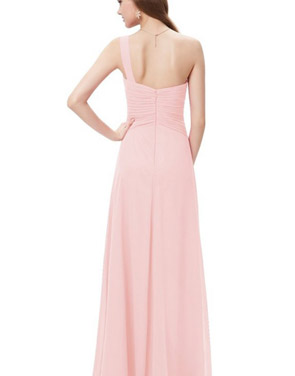 photo Elegant One Shoulder Slitted Ruched Evening Dress by OASAP - Image 6