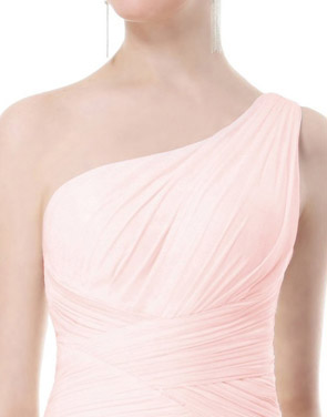 photo Elegant One Shoulder Slitted Ruched Evening Dress by OASAP - Image 8
