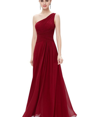 photo Elegant One Shoulder Slitted Ruched Evening Dress by OASAP - Image 9