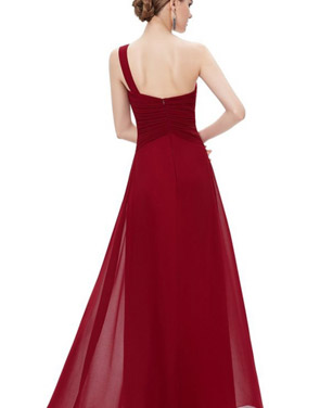photo Elegant One Shoulder Slitted Ruched Evening Dress by OASAP - Image 10