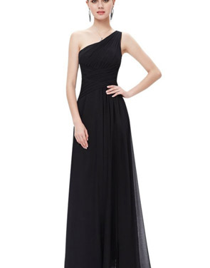 photo Elegant One Shoulder Slitted Ruched Evening Dress by OASAP - Image 1