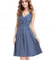 photo Elegant Polka Dot Faux Wrap Front Sleeveless Trapeze Dress by OASAP, color Blue White - Image 1