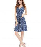 photo Elegant Polka Dot Faux Wrap Front Sleeveless Trapeze Dress by OASAP, color Blue White - Image 3