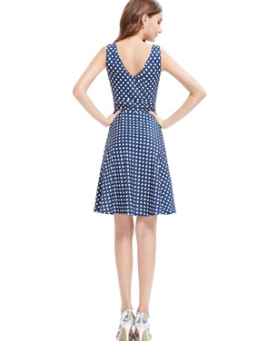 photo Elegant Polka Dot Faux Wrap Front Sleeveless Trapeze Dress by OASAP, color Blue White - Image 4