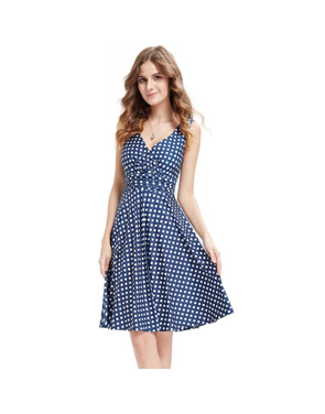 photo Elegant Polka Dot Faux Wrap Front Sleeveless Trapeze Dress by OASAP, color Blue White - Image 5