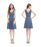 photo Elegant Polka Dot Faux Wrap Front Sleeveless Trapeze Dress by OASAP, color Blue White - Image 6