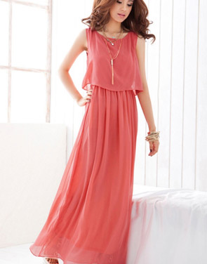 photo Elegant Sleeveless Maxi Dress with Chiffon Overlay by OASAP - Image 1