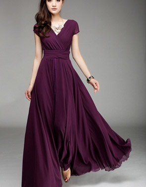 photo Elegant Surplice V-Neckline Maxi Chiffon Dress by OASAP - Image 1