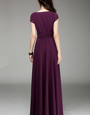 photo Elegant Surplice V-Neckline Maxi Chiffon Dress by OASAP - Image 2