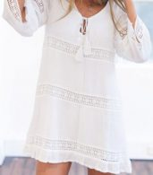 photo Elegant White Crochet Paneled Mini Shift Dress by OASAP, color White - Image 1