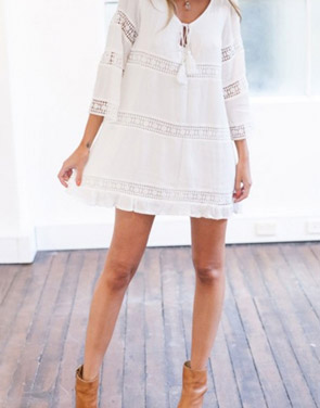 photo Elegant White Crochet Paneled Mini Shift Dress by OASAP, color White - Image 3