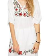 photo Embroidery Floral Loose Dress by OASAP - Image 1