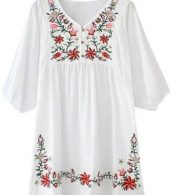 photo Embroidery Floral Loose Dress by OASAP - Image 3