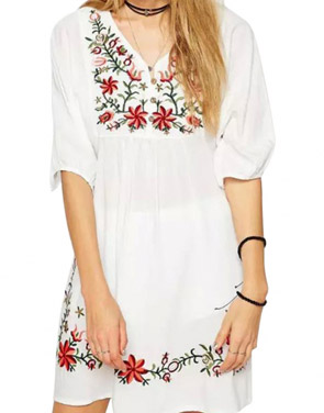 photo Embroidery Floral Loose Dress by OASAP - Image 10