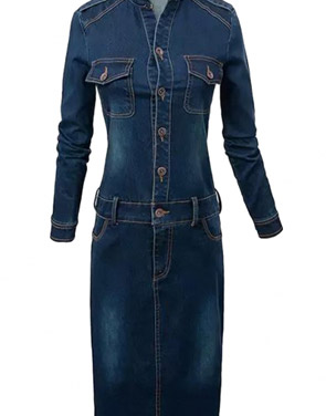 photo Essential Blue Bodycon Denim Dress by OASAP, color Deep Blue - Image 1