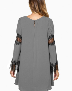 photo Fancy Lace-Paneled Flare Sleeve Trapeze Dress by OASAP, color Grey - Image 2