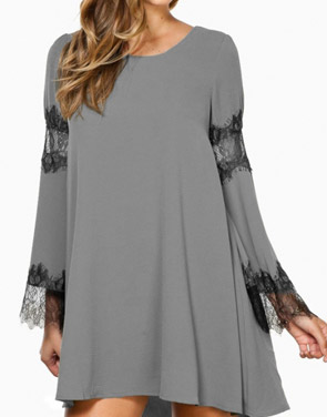 photo Fancy Lace-Paneled Flare Sleeve Trapeze Dress by OASAP, color Grey - Image 1