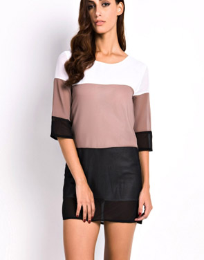 photo Fashion Color Block Mini Dress by OASAP - Image 1