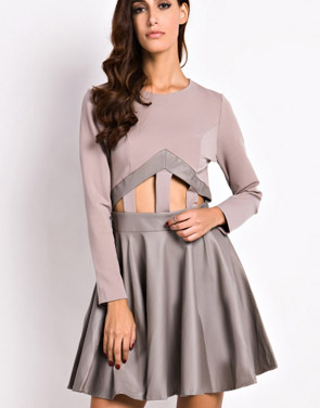 photo Fashion Cut-out Front Paneled Skate Dress by OASAP, color Grey - Image 1