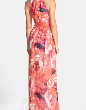 photo Fashion Floral Print Halter Maxi Evening Dress by OASAP, color Multi - Image 2