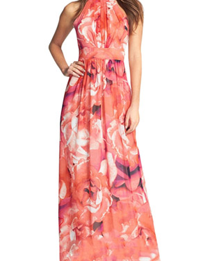 photo Fashion Floral Print Halter Maxi Evening Dress by OASAP, color Multi - Image 1