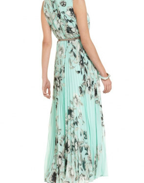photo Fashion Floral Printed Pleated Maxi Dress by OASAP - Image 2