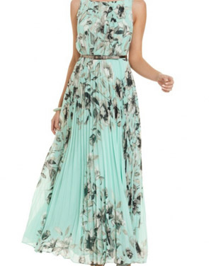 photo Fashion Floral Printed Pleated Maxi Dress by OASAP - Image 1