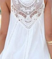 photo Fashion Lace Hollow Splicing Pinafore Dress by OASAP, color White - Image 5