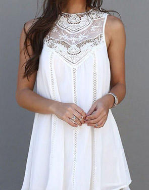 photo Fashion Lace Hollow Splicing Pinafore Dress by OASAP, color White - Image 1