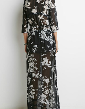 photo Fashion Sheer Floral Print Three Quarter Sleeve Maxi Dress by OASAP, color Black - Image 2