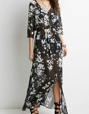 photo Fashion Sheer Floral Print Three Quarter Sleeve Maxi Dress by OASAP, color Black - Image 1