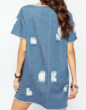 photo Fashion Short Sleeve Distressed Denim Shift Dress by OASAP, color Blue - Image 2