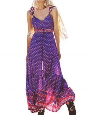 photo Fashion Sleeveless Bohemian Print Front Split Maxi Dress by OASAP, color Multi - Image 1