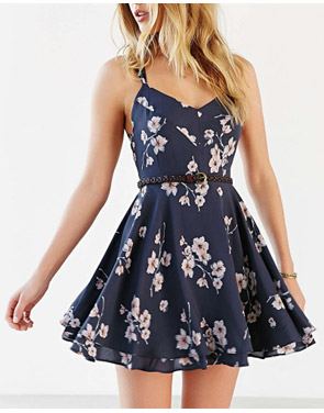 photo Fashion Spaghetti Strap Floral PrinT-Backless Mini Dress by OASAP, color Deep Blue - Image 2