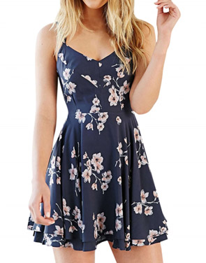 photo Fashion Spaghetti Strap Floral PrinT-Backless Mini Dress by OASAP, color Deep Blue - Image 1