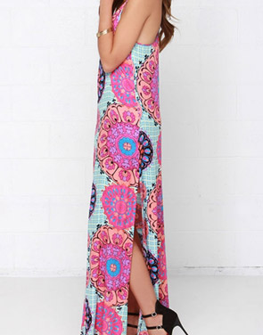 photo Fashion Spaghetti Strap Floral Print Slit Maxi Dress by OASAP, color Multi - Image 2