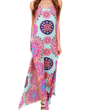 photo Fashion Spaghetti Strap Floral Print Slit Maxi Dress by OASAP, color Multi - Image 1