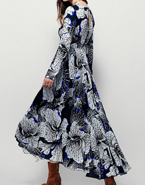photo Fashion Spring Long Sleeve Floral Print Maxi Dress by OASAP - Image 2