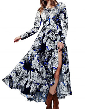 photo Fashion Spring Long Sleeve Floral Print Maxi Dress by OASAP - Image 1