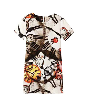 photo Fashion Summer Short Sleeve Print Shift Dress by OASAP, color Multi - Image 1
