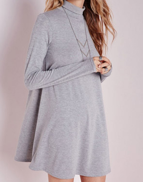 photo Fashion Turtle Neck Trapeze Dress by OASAP, color Grey - Image 1