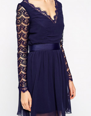 photo Fashion V-Neck Long Lace Sleeve Mini Skater Dress by OASAP, color Deep Blue - Image 2