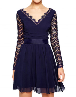 photo Fashion V-Neck Long Lace Sleeve Mini Skater Dress by OASAP, color Deep Blue - Image 1