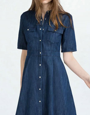 photo Fashion Women Stand Collar Snap Button Front Denim Dress by OASAP, color Deep Blue - Image 2