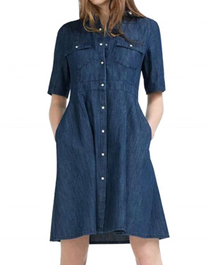 photo Fashion Women Stand Collar Snap Button Front Denim Dress by OASAP, color Deep Blue - Image 1