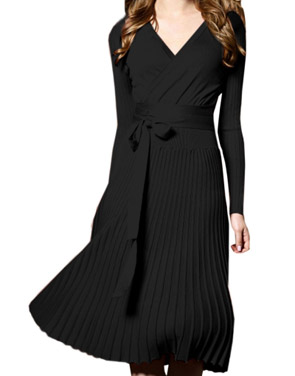 photo Faux Wrap Pleated Tie Waist Long Sleeve Knit Dress by OASAP - Image 2