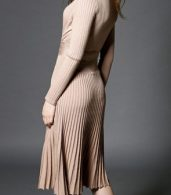 photo Faux Wrap Pleated Tie Waist Long Sleeve Knit Dress by OASAP - Image 3
