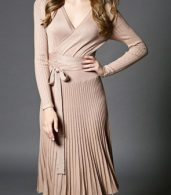 photo Faux Wrap Pleated Tie Waist Long Sleeve Knit Dress by OASAP - Image 4