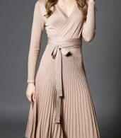 photo Faux Wrap Pleated Tie Waist Long Sleeve Knit Dress by OASAP - Image 5
